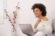 Communication And Connection During Coronavirus Lockdown , Self-isolation. Woman Using Online Technology To Keep In Touch With Friends And Family. Good News And Gratitude Concept