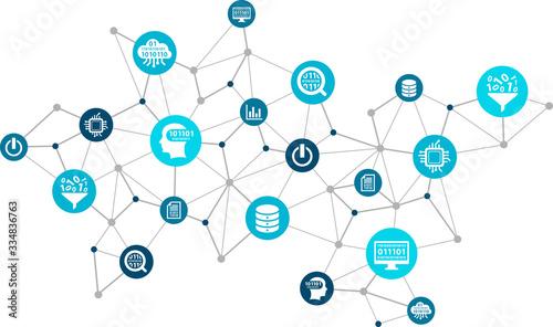Cuadros en Lienzo Data analysis and digitalization vector illustration