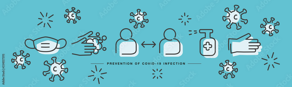Fototapeta Covid 19 Coronavirus prevention icons handwritten line design virus draw sea green background banner