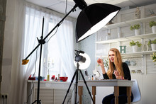 Beauty Blogger Woman Filming D...