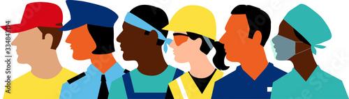 Fotografía Profile of members of essential workforce, EPS 8 vector illustration