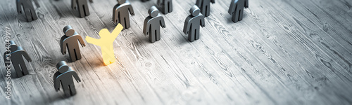 Obraz Concept people work. Leader selected - fototapety do salonu