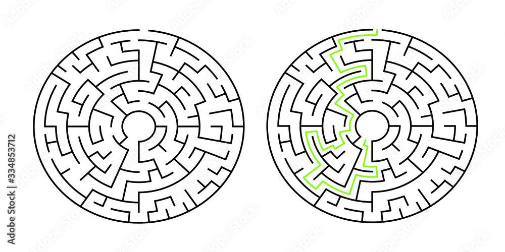 Fototapeta 8-corridor wide circular maze with solution