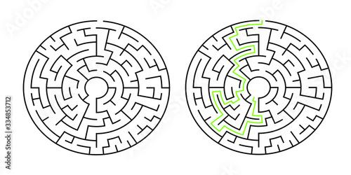 8-corridor wide circular maze with solution Canvas Print