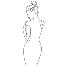 Nude Woman Silhouette One Line...