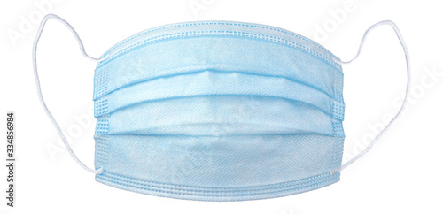 Personal protective equipment, PPE, medical face mask isolated on white. #334856984