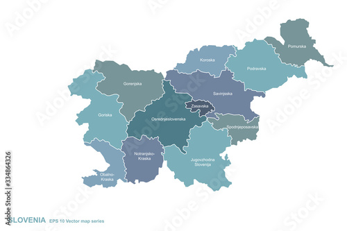 slovenia map. vector map of slovenia in balkans country. Wallpaper Mural