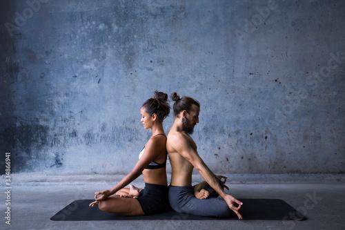 Fotografiet Latin couple practice meditation together