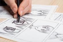 Artist Drawing An Anime Comic ...