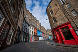 Fototapeta Uliczki - Empty streets of Edinburgh during quarantine of Covid-19: Victoria Street