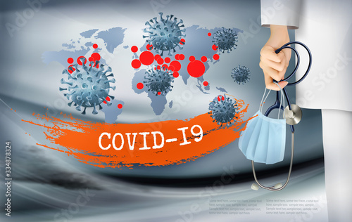 Fototapeta Coranavirus background with doctor holding a protective Medical Surgical Face mask and stethoscope. Disaster gloomy backdrop with virus COVID-19 moleculs. Vector obraz
