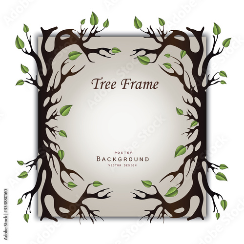 Photo Tree with roots and leaves as frame on paper background vector