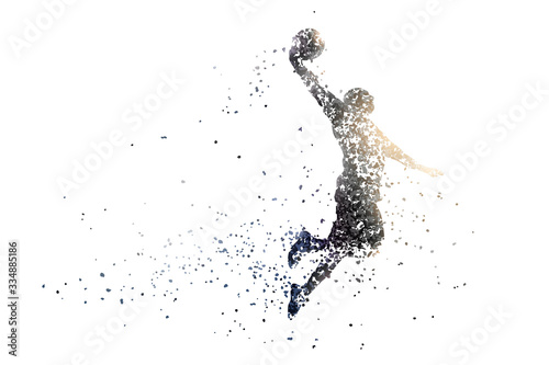 silhouette of a basketball from particles 1. white background.