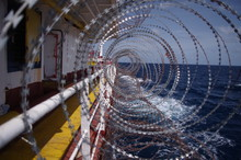 Razor Wires On Board The Ship As Anti Piracy Measure