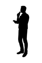 Male News Reporter Silhouette Vector
