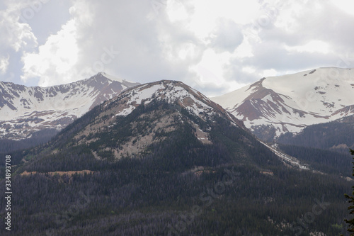 A view of the snow covered peaks in the Colorado mountains