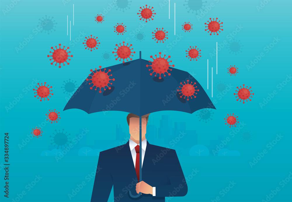Fototapeta businessman use umbrella to protecting coronavirus , COVID-19 vector illustration EPS10
