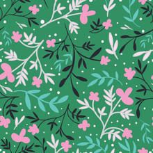 Green With Pink Flowers And Le...