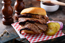 Smoked Barbeque Beef Brisket Sandwich With Pickles