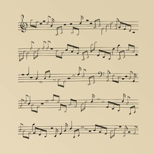 Music Sheet Vintage Background With Hand Drawn Music Notes. Simple Cartoon Design. Vector