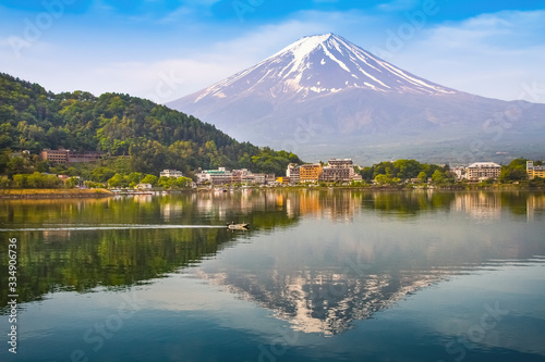 Fotografie, Obraz Mt Fuji at lake Kawaguchiko Japan