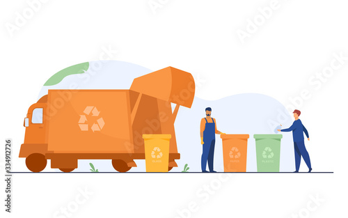 Fototapeta Garbage collector cleaning waste bin flat vector illustration. Cartoon man putting rubbish for recycling. Service and disposal industry concept. obraz