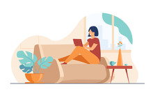 Young Woman Relaxing At Sofa W...