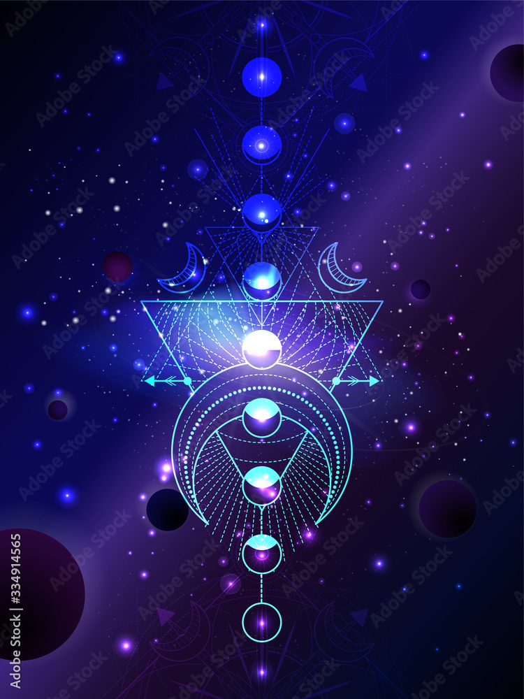 Fototapeta Vector illustration of Sacred geometric symbol against the space background with planets and stars.