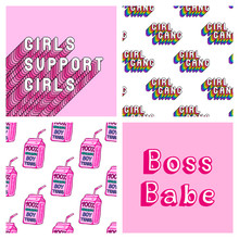 """Set Of 2 Girly Seamless Patterns And 2 Posters With Feminist Quotes: """"Girls Support Girls"""" And """"Boss Babe"""". Pink Feminine Vector Backgrounds."""
