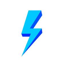 Blue Thunder Icon Isolated On White Background, Thunder Storm Symbol Blue Flat Lay, Clip Art Thunder, 3d Thunder Blue For Logo