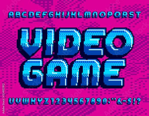 Video Game alphabet font Fototapet