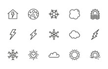 Big Set Of Climate Line Icons.