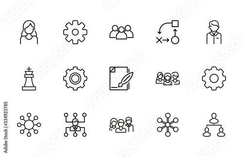 Fotografía Modern thin line icons set of project management.