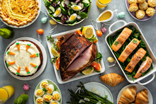 Big Traditional Easter Brunch With Ham, Quiche Lorraine And Carrot Cake