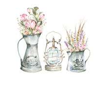 Hand Painted Watercolor Set - Lantern And Bouquets With Hydrangea, Lavenders And Foliage In Metal Jugs. Romantic Floral Rustic Set Perfect For Fabric Textile, Vintage Paper Or Scrapbooking