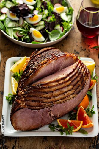 Brown sugar glazed spiral cut ham for Easted dinner