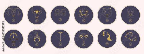 Obraz Golden zodiac signs in a purple circle. Trendy vector illustration. - fototapety do salonu