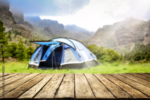 desk of free space and summer time on camping Fototapeta