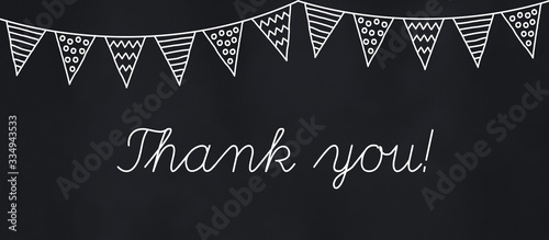 Photo thank you note and hand drawn bunting on chalkboard