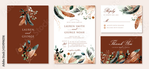 wedding invitation set with rustic feather and foliage watercolor Fototapete