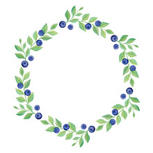 Round Frame Of Blueberry Branches Isolated On White Background. Ripe Berries And Green Leaves Wreath. Watercolor Elements. Wild Plants Border. Natural Theme. Save The Date Design. Minimalistic Poster