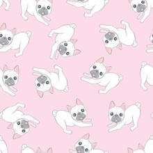 Seamless Pattern With Cute Dog...