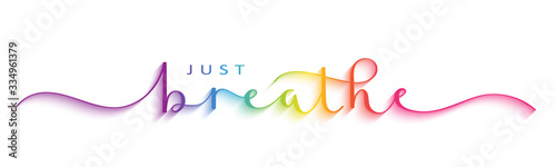 JUST BREATHE vector brush calligraphy banner with swashes Fototapete