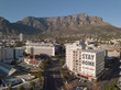 canvas print picture - Aerial view of empty streets in Cape Town, South Africa during the Covid 19 lockdown.