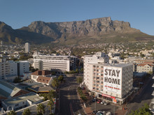 Aerial View Of Empty Streets In Cape Town, South Africa During The Covid 19 Lockdown.