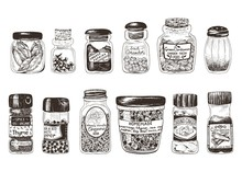 Spices In Jars, Hand Drawn Set With Thyme, Paprika, Cinnamon, Ginger, Coriander, Cardamom, Pepper, Oregano, Bay Leaf, Clove And Homemade Mix Spices. Vector Drawing Illustration In Vintage Style.