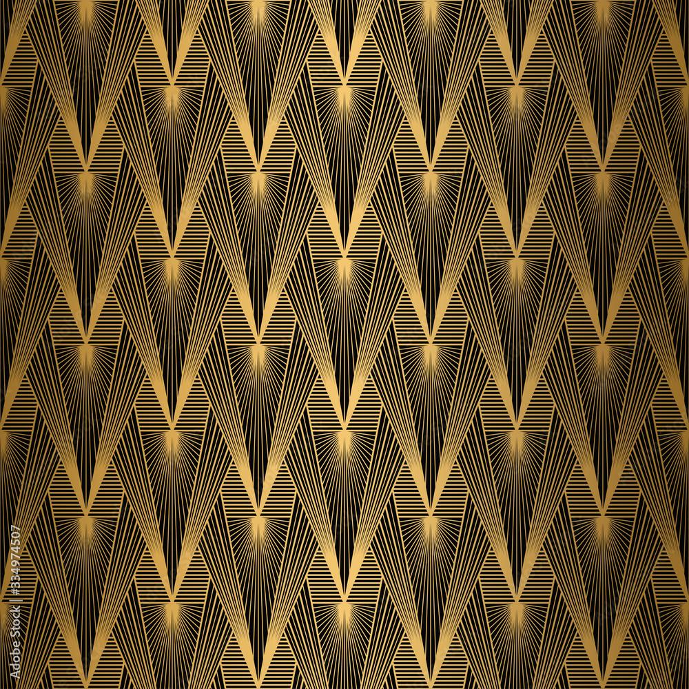 Art Deco Pattern. Seamless Gold and black background. Geometric design