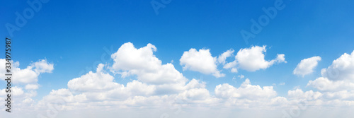 Panorama Blue sky and white clouds. Bfluffy cloud in the blue sky background - 334975987