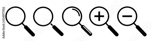 Magnifying glass, search icons. Vector illustration Wallpaper Mural