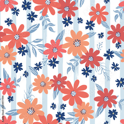 Tapeta do przedpokoju  cute-hand-drawn-floral-seamless-pattern-flower-background-great-for-summer-or-spring-textiles